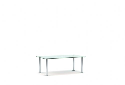 Pledge Koko Glass Rectangular Table With 4 Chrome Legs 900mm x 500mm
